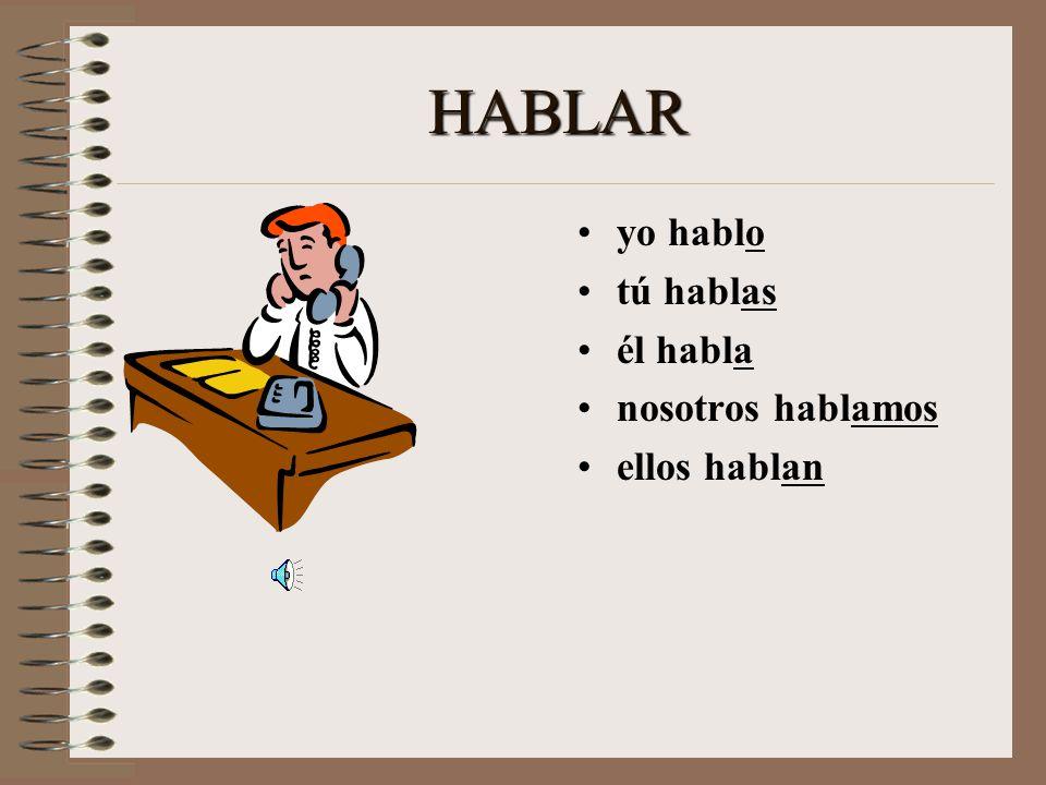 Let's Practice! > HABLAR yo _______ tú _______ él ________ nosotros ________ ellos _______