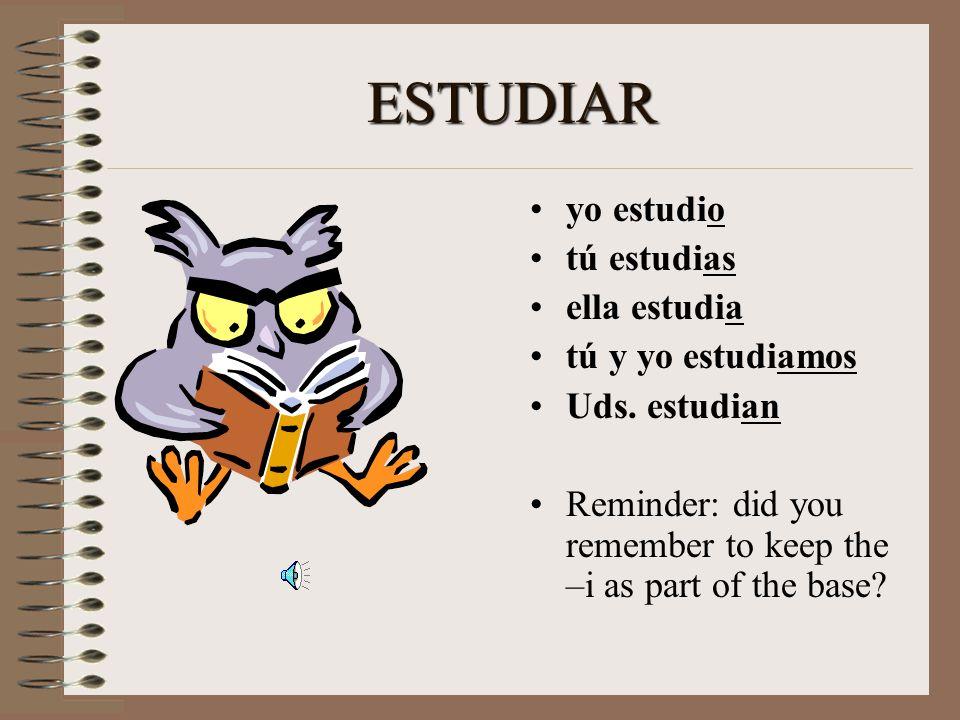 ESTUDIAR yo _______ tú _______ ella ________ tú y yo ________ Uds. _______