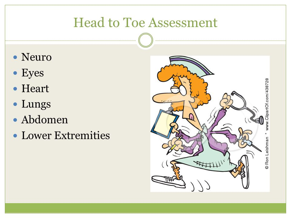 Head to Toe Assessment Neuro Eyes Heart Lungs Abdomen Lower Extremities