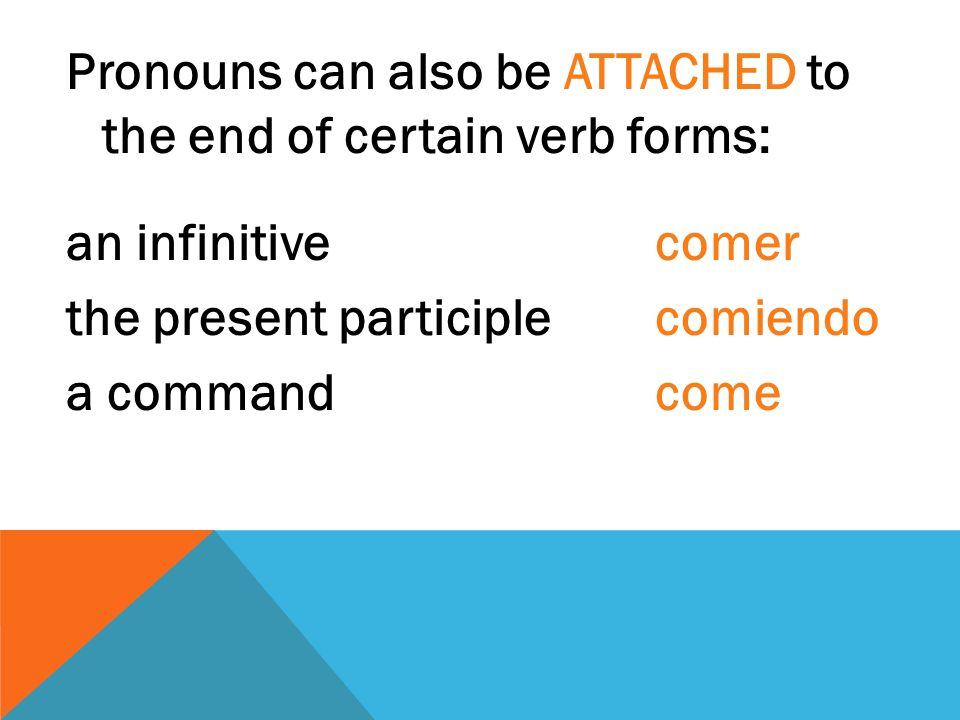 Pronouns can also be ATTACHED to the end of certain verb forms: an infinitive comer the present participle comiendo a command come