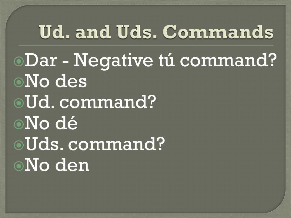  Hacer - Negative tú command  No hagas  Ud. command  No haga  Uds. command  No hagan