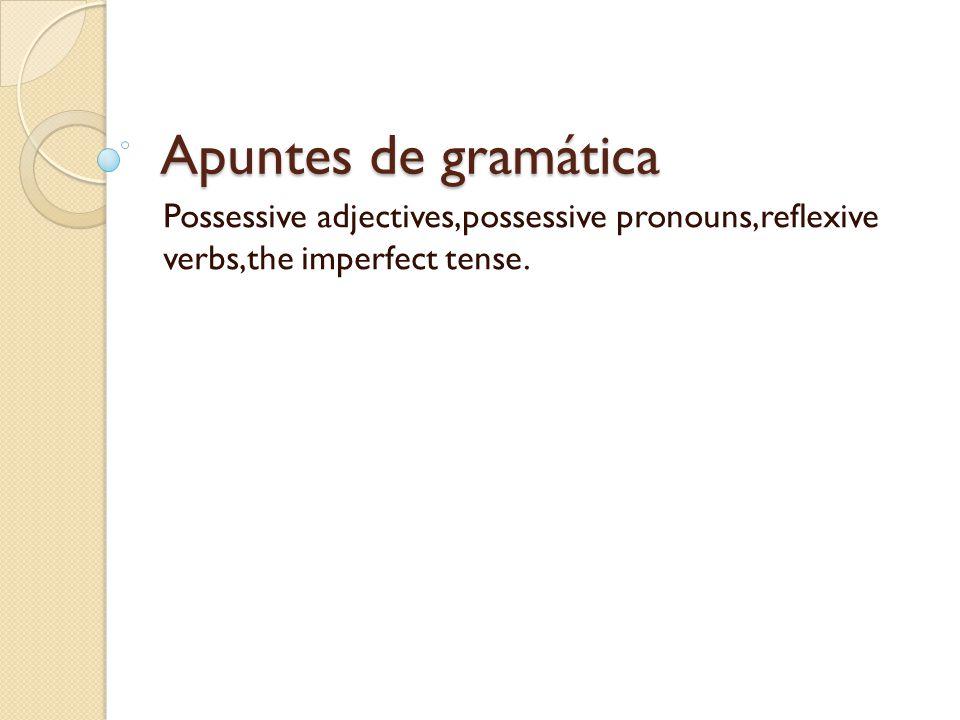 Apuntes de gramática Possessive adjectives,possessive pronouns,reflexive verbs,the imperfect tense.