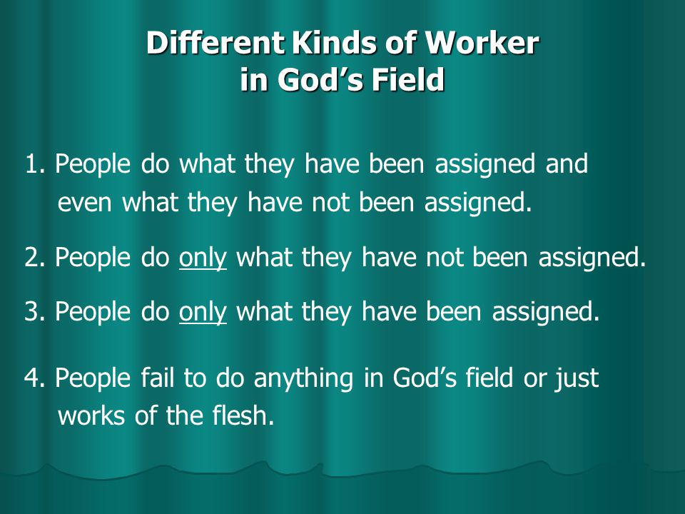 Different Kinds of Worker in God's Field 1.