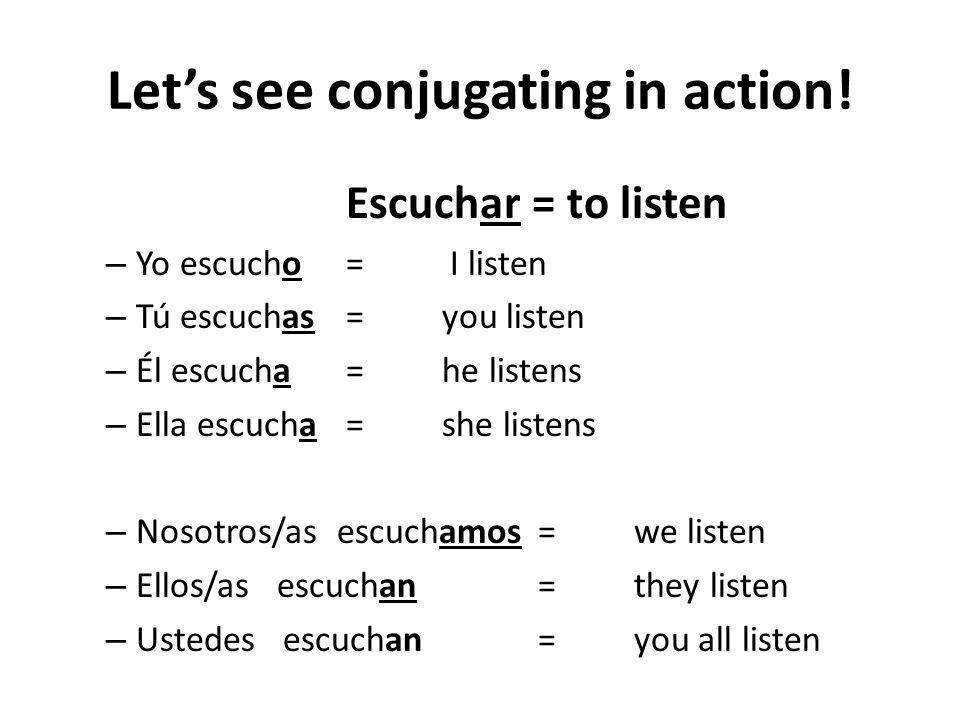 Verbs ending in er Yo (I)-o Tú (you)-es Él / Ella (he/she)-e (just drop the r ) Nosotros/as (we)-emos Ellos/as (they)-en Ustedes ( all of you )-en