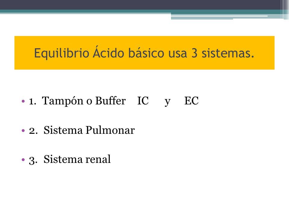 Equilibrio Ácido básico usa 3 sistemas. 1. Tampón o Buffer IC y EC 2.