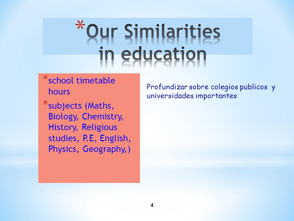 4 * school timetable hours * subjects (Maths, Biology, Chemistry, History, Religious studies, P.E, English, Physics, Geography,) Profundizar sobre colegios publicos y universidades importantes
