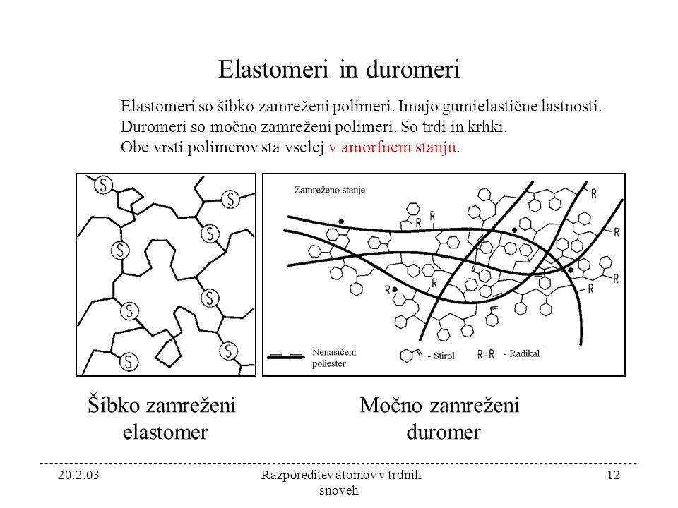 20.2.03 Razporeditev atomov v trdnih snoveh 12 Elastomeri in duromeri Elastomeri so šibko zamreženi polimeri.