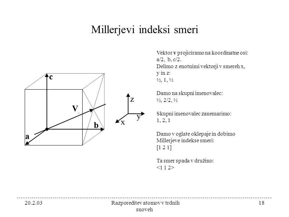 20.2.03 Razporeditev atomov v trdnih snoveh 18 Millerjevi indeksi smeri Vektor v projiciramo na koordinatne osi: a/2, b, c/2.