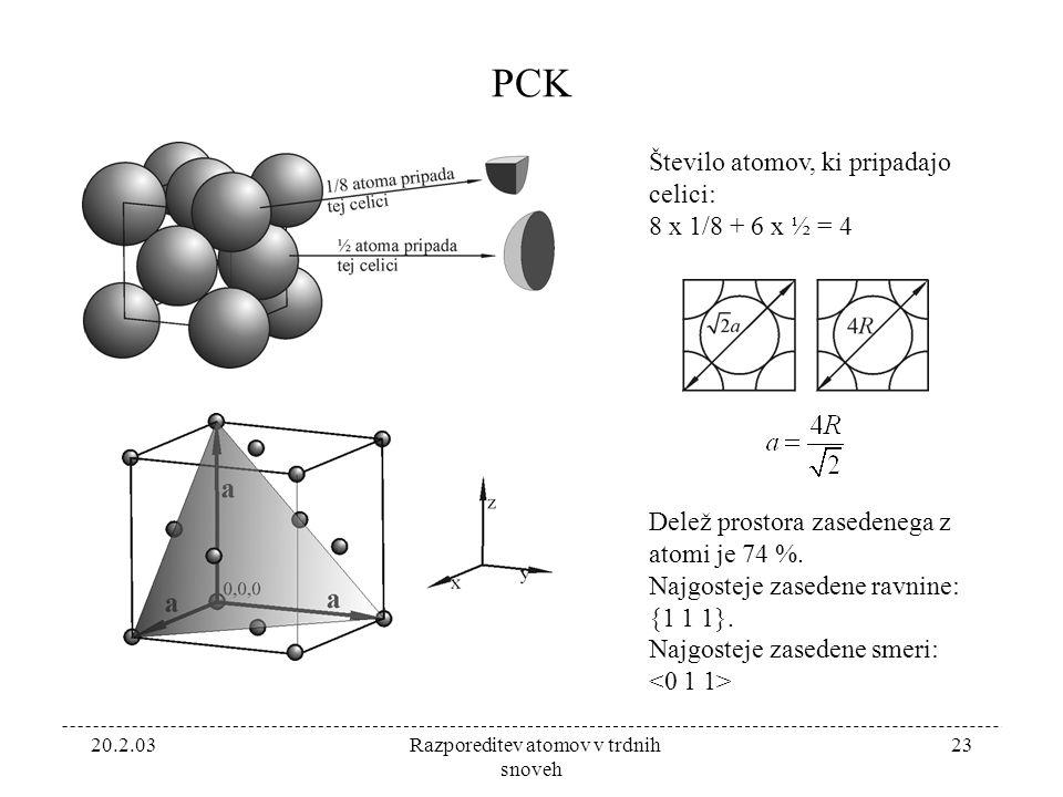 20.2.03 Razporeditev atomov v trdnih snoveh 23 PCK Število atomov, ki pripadajo celici: 8 x 1/8 + 6 x ½ = 4 Delež prostora zasedenega z atomi je 74 %.