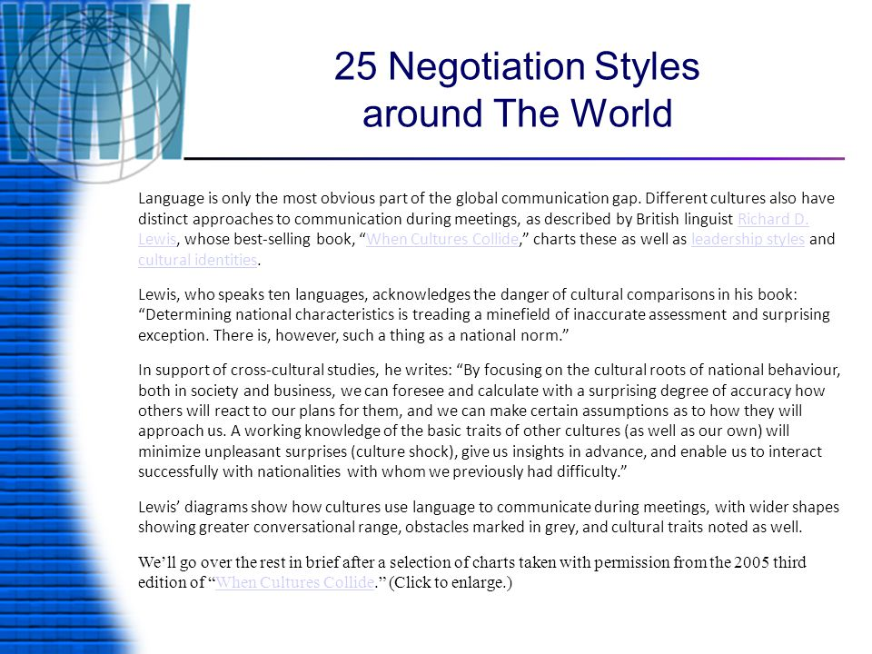 25 Negotiation Styles around The World Language is only the most obvious part of the global communication gap.