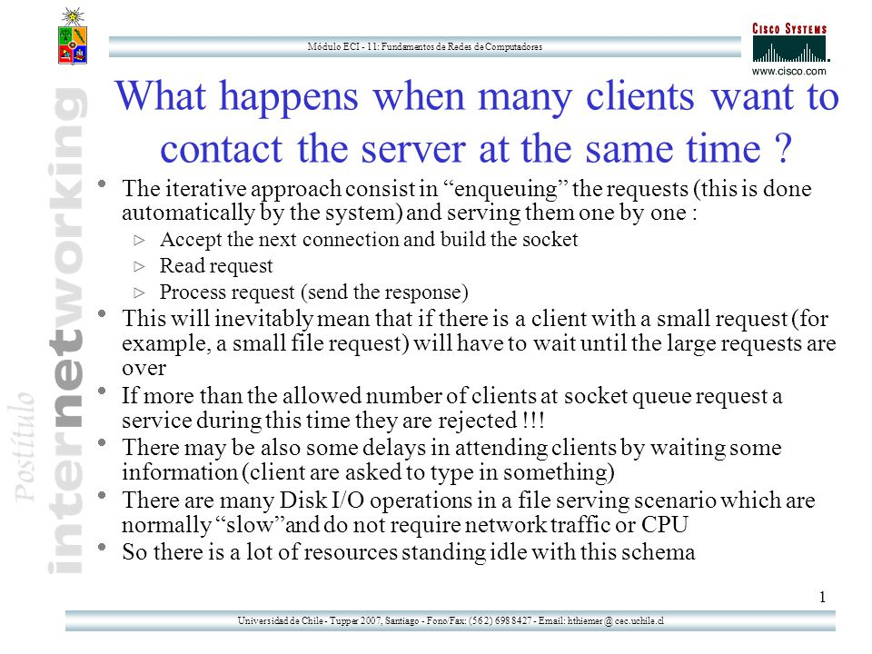 Universidad de Chile - Tupper 2007, Santiago - Fono/Fax: (56 2) 698 8427 - Email: hthiemer @ cec.uchile.cl Módulo ECI - 11: Fundamentos de Redes de Computadores 12 … so a request of a third client can be immediately be accepted A SERVER A CLIENT 4444