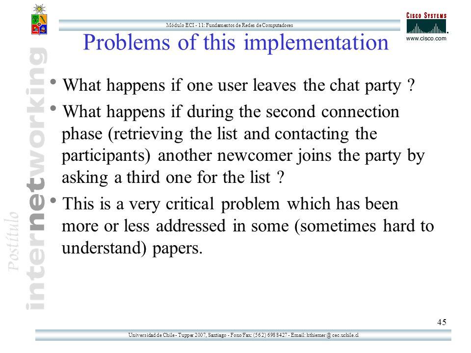 Universidad de Chile - Tupper 2007, Santiago - Fono/Fax: (56 2) 698 8427 - Email: hthiemer @ cec.uchile.cl Módulo ECI - 11: Fundamentos de Redes de Computadores 45 Problems of this implementation  What happens if one user leaves the chat party .