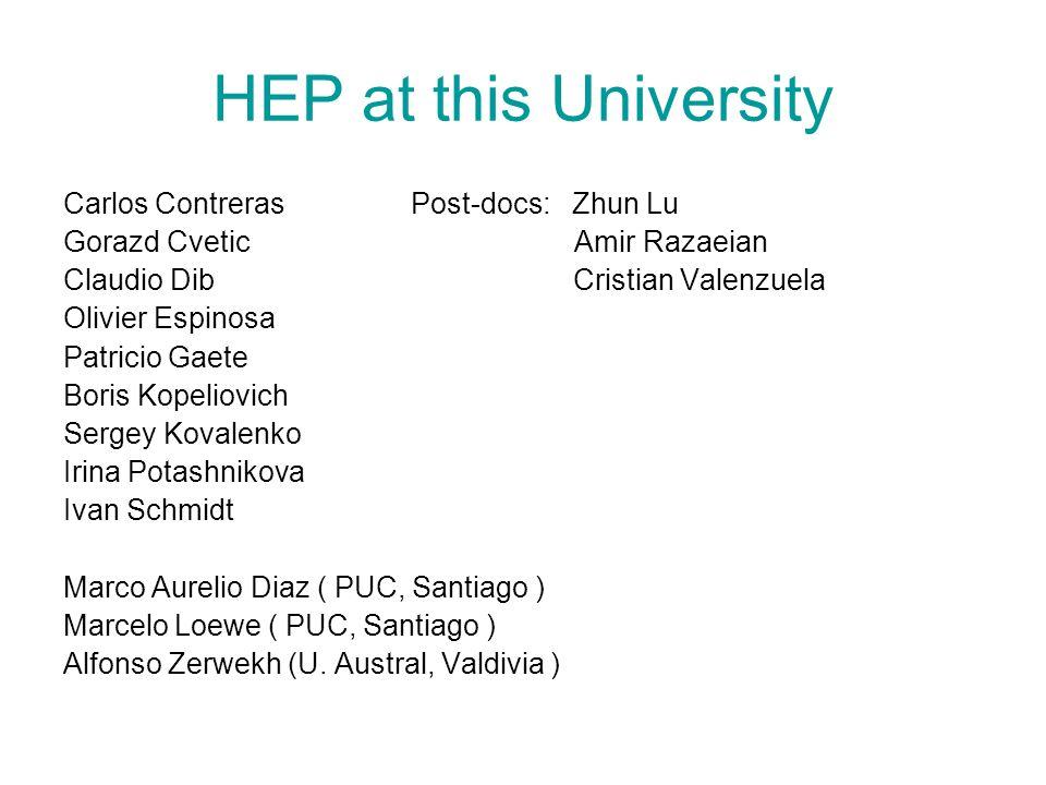 HEP at this University Carlos Contreras Post-docs: Zhun Lu Gorazd Cvetic Amir Razaeian Claudio Dib Cristian Valenzuela Olivier Espinosa Patricio Gaete
