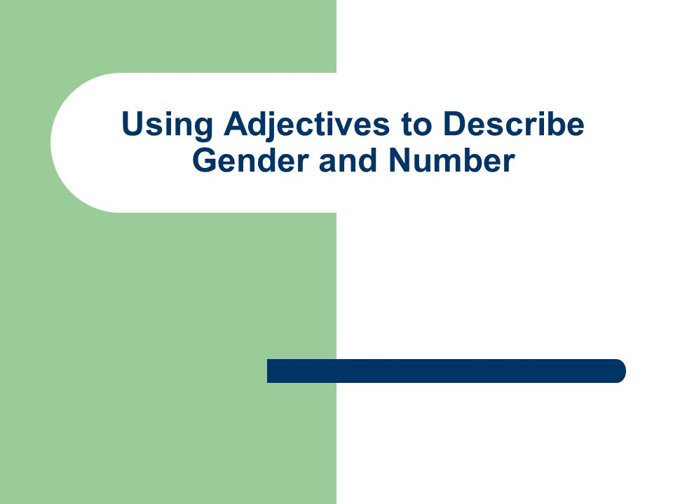 Using Adjectives to Describe Gender and Number