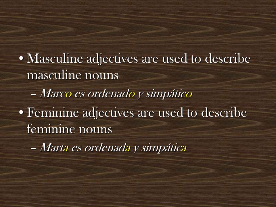 Adjectives that end in 'e' describe both masculine and feminine nounsAdjectives that end in 'e' describe both masculine and feminine nouns –Antón es inteligente –Ana es inteligente –Pedro es paciente –María es paciente