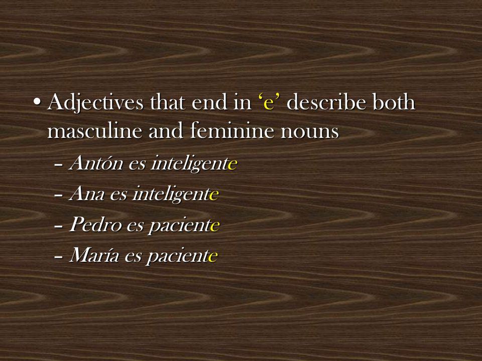 Adjectives that end in dor have a feminine form that ends in doraAdjectives that end in dor have a feminine form that ends in dora –Juan es trabajador –Lucia es trabajadora