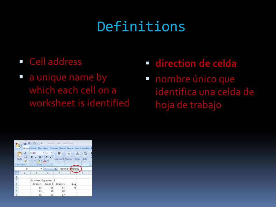 Definitions  Cell address  a unique name by which each cell on a worksheet is identified  direction de celda  nombre único que identifica una celda de hoja de trabajo