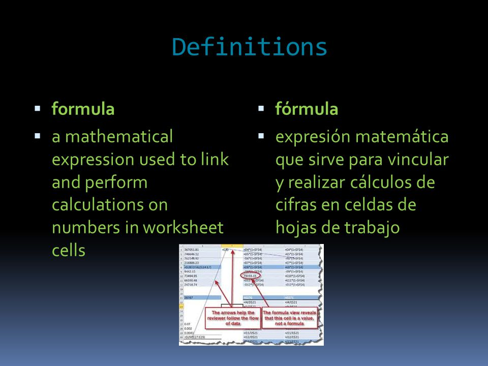 Definitions  formula  a mathematical expression used to link and perform calculations on numbers in worksheet cells  fórmula  expresión matemática