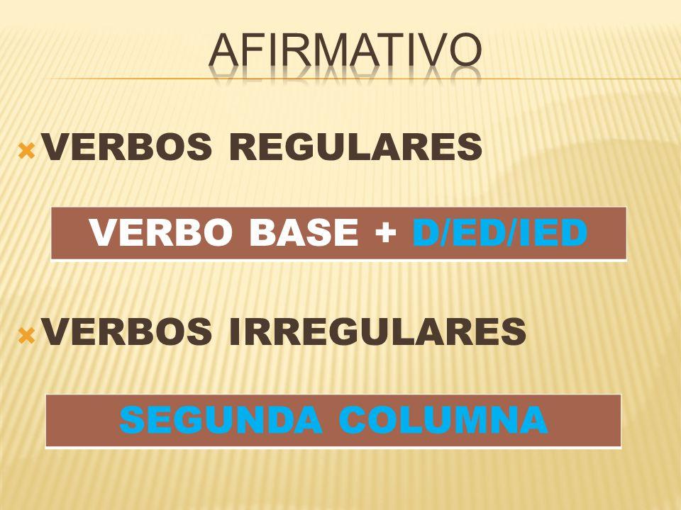  VERBOS REGULARES  VERBOS IRREGULARES VERBO BASE + D/ED/IED SEGUNDA COLUMNA
