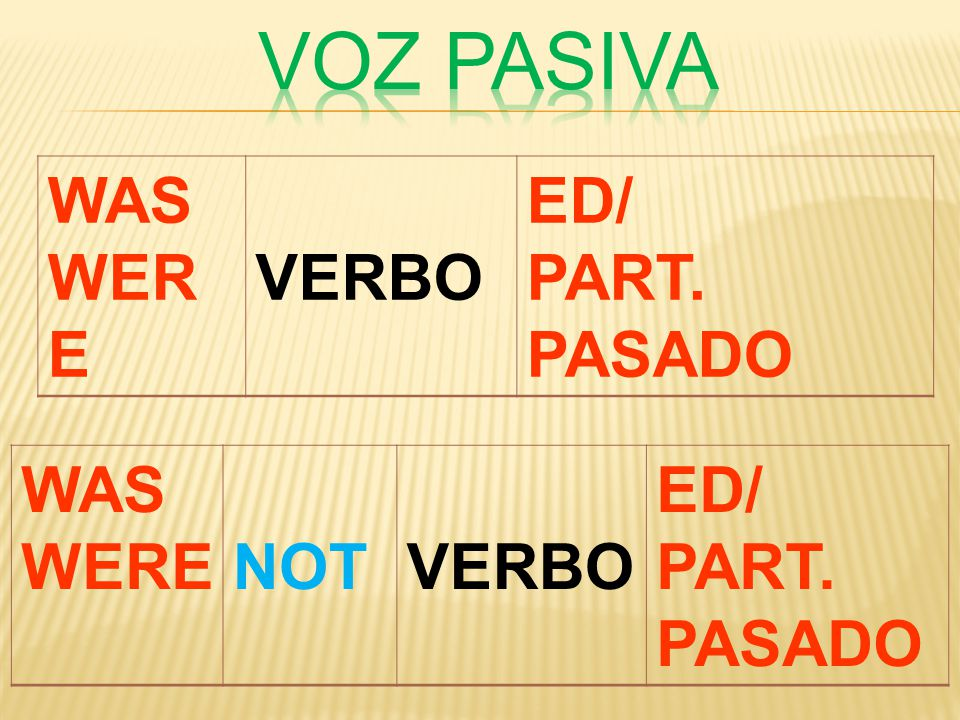 WAS WER E VERBO ED/ PART. PASADO WAS WERENOTVERBO ED/ PART. PASADO