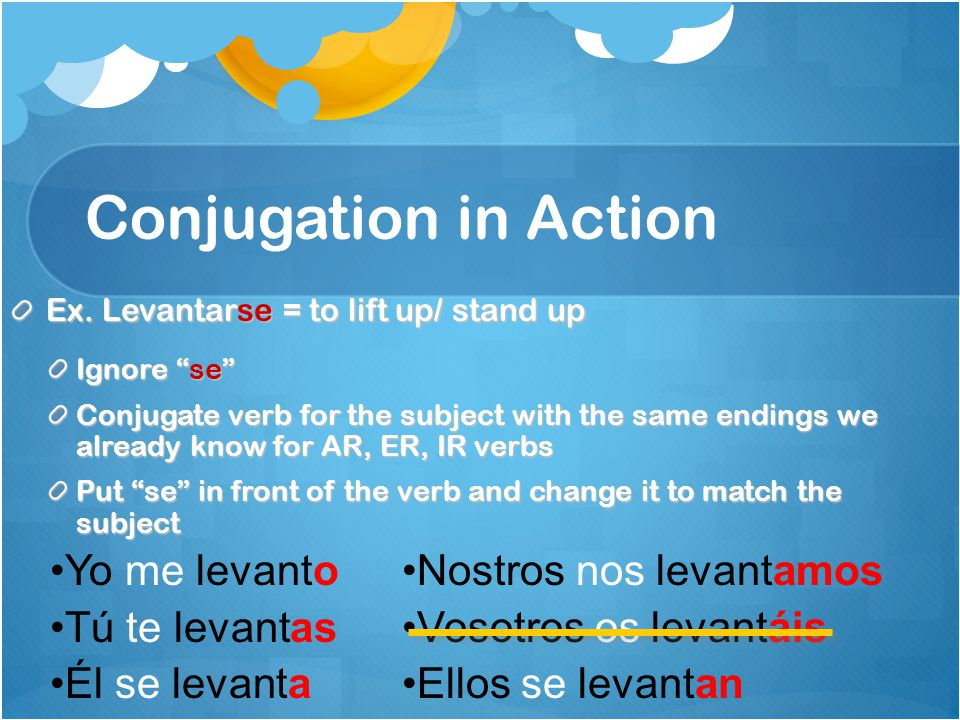 "Conjugation in Action Ex. Levantarse = to lift up/ stand up Ignore ""se"" Conjugate verb for the subject with the same endings we already know for AR, E"