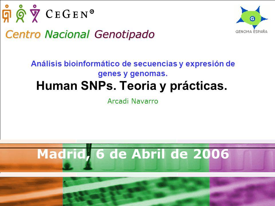 Centro Nacional Genotipado Análisis bioinformático de secuencias y expresión de genes y genomas.