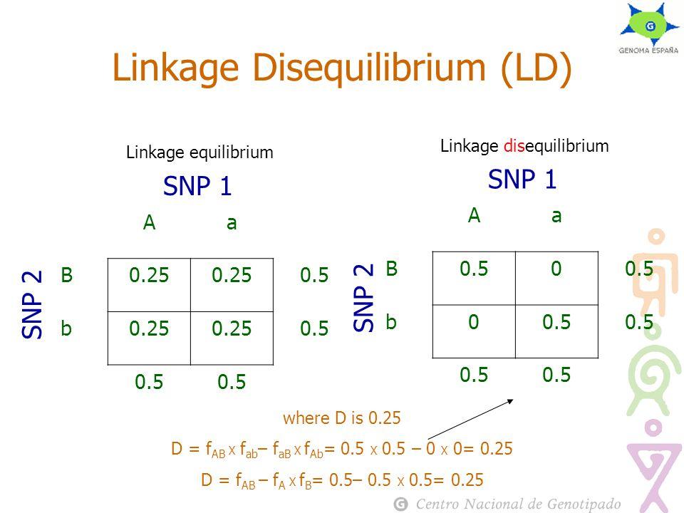 Linkage equilibrium Linkage Disequilibrium (LD) Aa B0.25 0.5 b0.25 0.5 SNP 1 SNP 2 Linkage disequilibrium Aa B0.50 b0 SNP 1 SNP 2 where D is 0.25 D = f AB Х f ab – f aB Х f Ab = 0.5 Х 0.5 – 0 Х 0= 0.25 D = f AB – f A Х f B = 0.5– 0.5 Х 0.5= 0.25