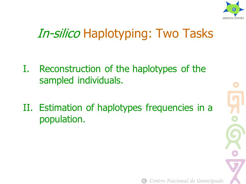 In-silico Haplotyping: Two Tasks I.Reconstruction of the haplotypes of the sampled individuals.