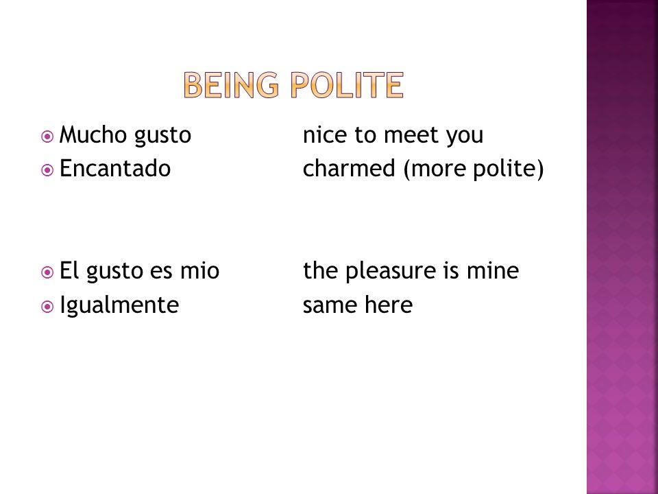  Mucho gustonice to meet you  Encantadocharmed (more polite)  El gusto es miothe pleasure is mine  Igualmentesame here