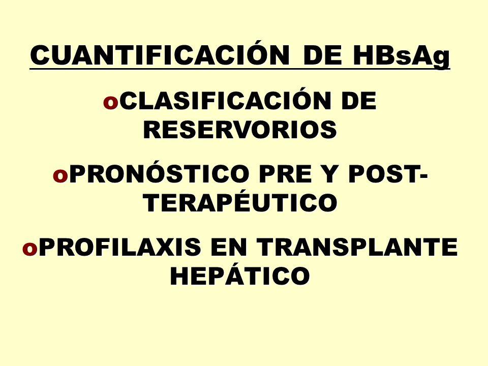 CUANTIFICACIÓN DE HBsAg oCLASIFICACIÓN DE RESERVORIOS oPRONÓSTICO PRE Y POST- TERAPÉUTICO oPROFILAXIS EN TRANSPLANTE HEPÁTICO
