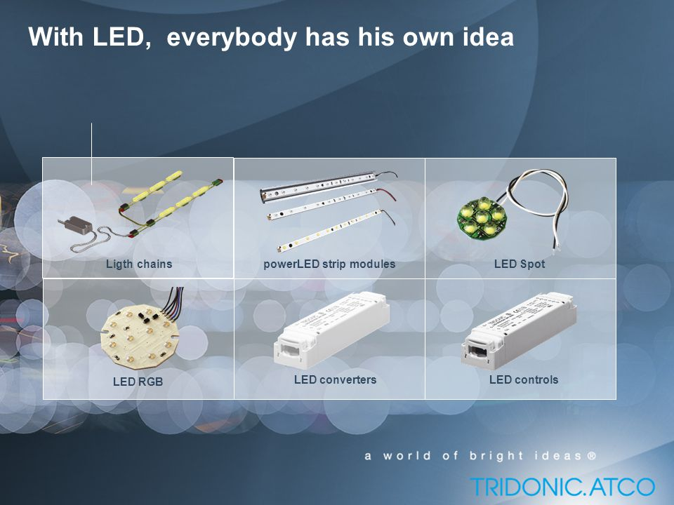 Ligth chainspowerLED strip modulesLED Spot LED RGB LED controlsLED converters With LED, everybody has his own idea