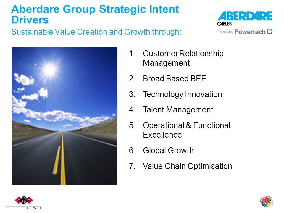 1.Customer Relationship Management 2.Broad Based BEE 3.Technology Innovation 4.Talent Management 5.Operational & Functional Excellence 6.Global Growth 7.Value Chain Optimisation Aberdare Group Strategic Intent Drivers Sustainable Value Creation and Growth through: