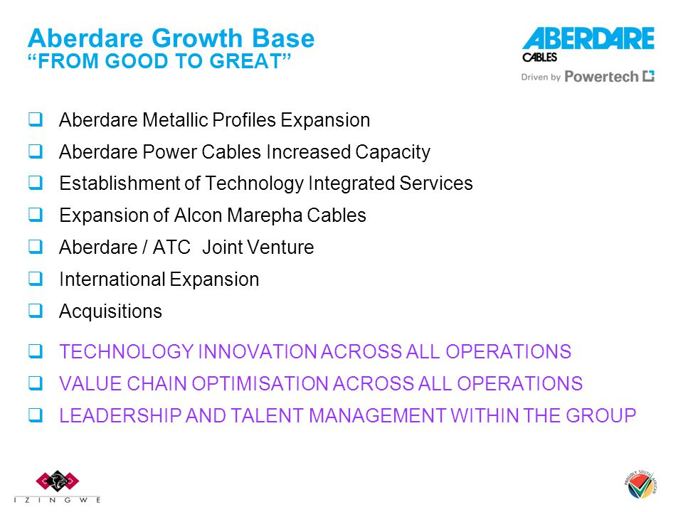 Aberdare Growth Base FROM GOOD TO GREAT  Aberdare Metallic Profiles Expansion  Aberdare Power Cables Increased Capacity  Establishment of Technology Integrated Services  Expansion of Alcon Marepha Cables  Aberdare / ATC Joint Venture  International Expansion  Acquisitions  TECHNOLOGY INNOVATION ACROSS ALL OPERATIONS  VALUE CHAIN OPTIMISATION ACROSS ALL OPERATIONS  LEADERSHIP AND TALENT MANAGEMENT WITHIN THE GROUP