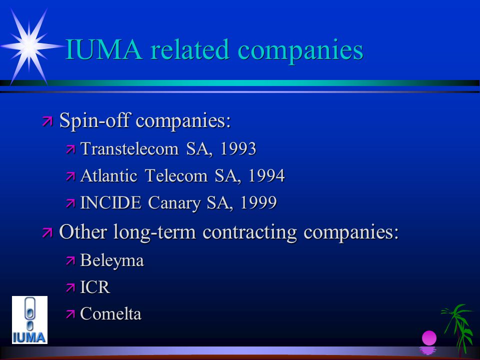 IUMA related companies ä Spin-off companies: ä Transtelecom SA, 1993 ä Atlantic Telecom SA, 1994 ä INCIDE Canary SA, 1999 ä Other long-term contracting companies: ä Beleyma ä ICR ä Comelta