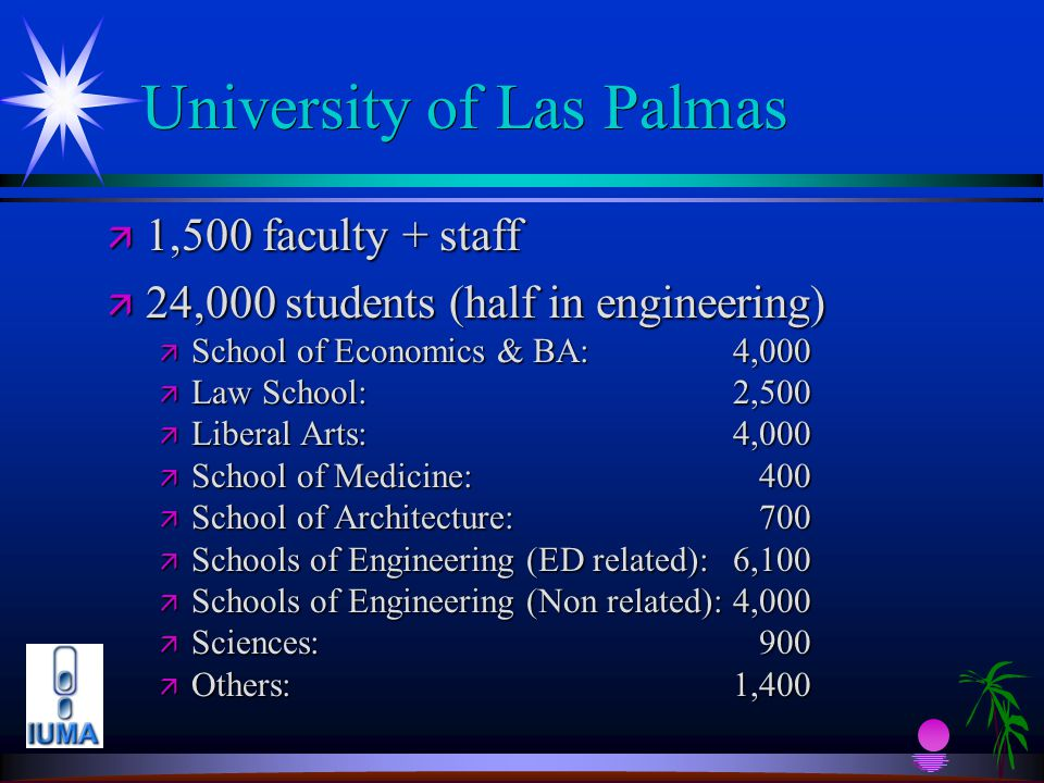 University of Las Palmas ä 1,500 faculty + staff ä 24,000 students (half in engineering) ä School of Economics & BA: 4,000 ä Law School: 2,500 ä Liberal Arts:4,000 ä School of Medicine: 400 ä School of Architecture: 700 ä Schools of Engineering (ED related):6,100 ä Schools of Engineering (Non related):4,000 ä Sciences: 900 ä Others:1,400