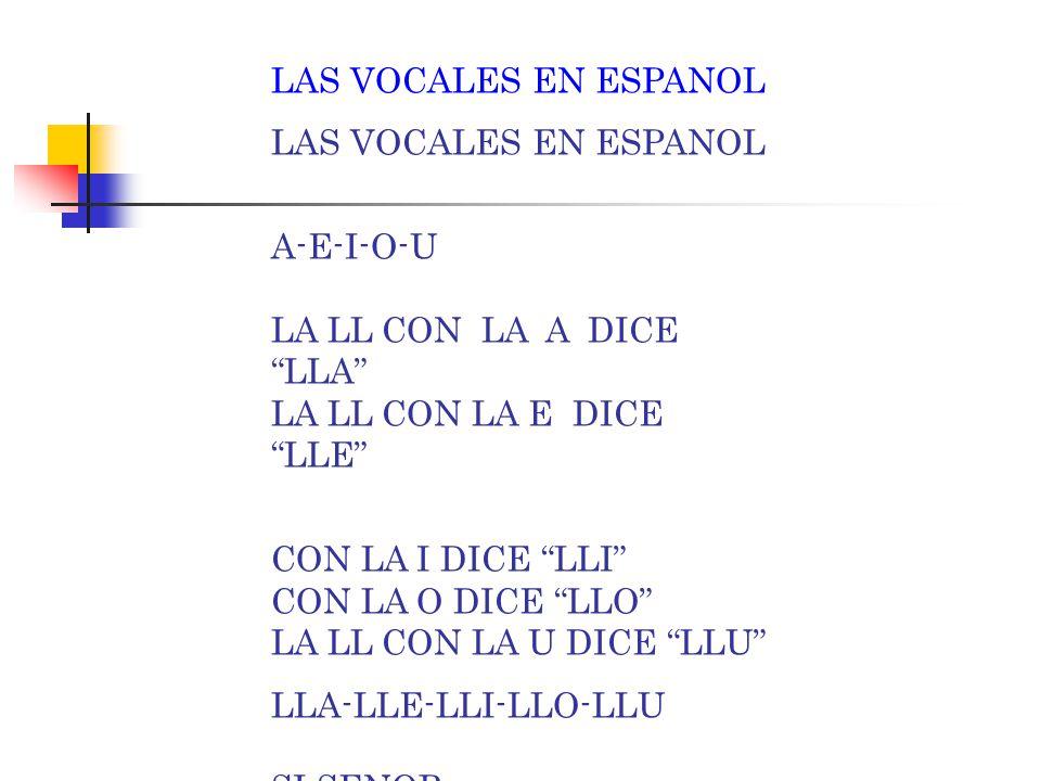 "LAS VOCALES EN ESPANOL A-E-I-O-U LA L CON LA A DICE ""LA"" LA L CON LA E DICE ""LE"" CON LA I DICE ""LI"" CON LA O DICE ""LO"" LA L CON LA U DICE ""LU"" LA-LE-L"