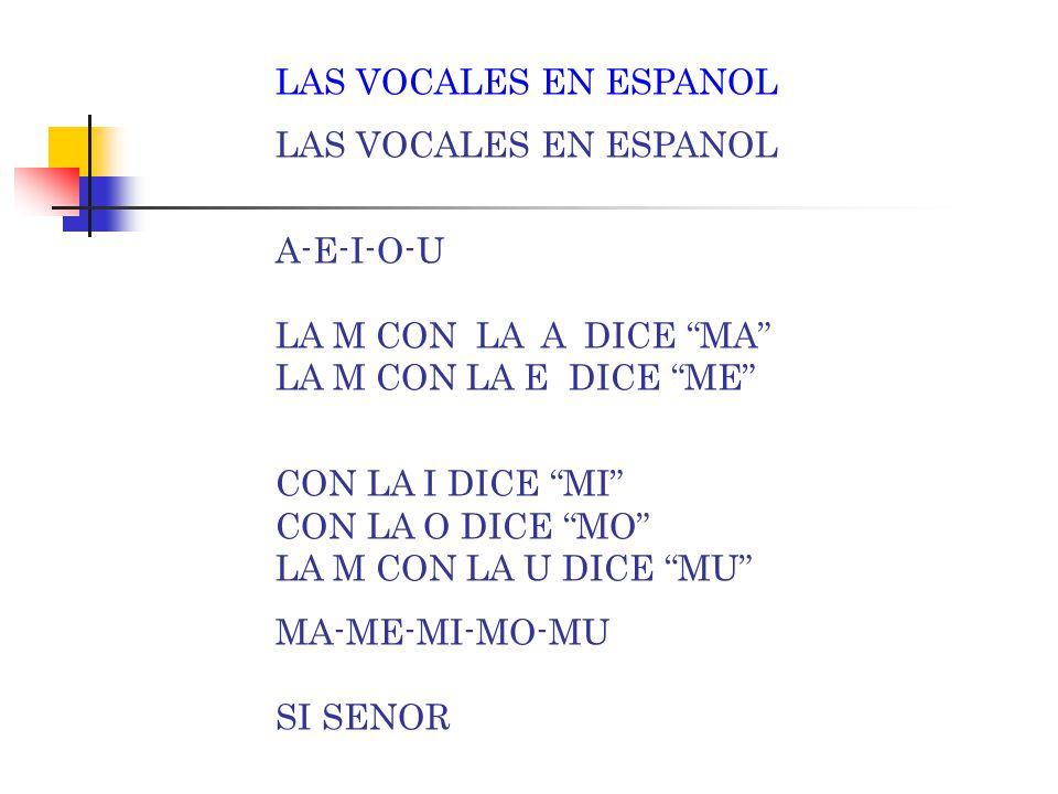 "LAS VOCALES EN ESPANOL A-E-I-O-U LA LL CON LA A DICE ""LLA"" LA LL CON LA E DICE ""LLE"" CON LA I DICE ""LLI"" CON LA O DICE ""LLO"" LA LL CON LA U DICE ""LLU"""