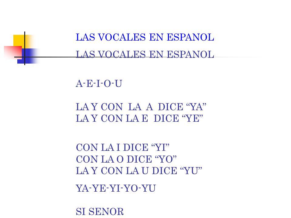 "LAS VOCALES EN ESPANOL A-E-I-O-U LA X CON LA A DICE ""XA"" LA X CON LA E DICE ""XE"" CON LA I DICE ""XI"" CON LA O DICE ""XO"" LA X CON LA U DICE ""XU"" XA-XE-X"