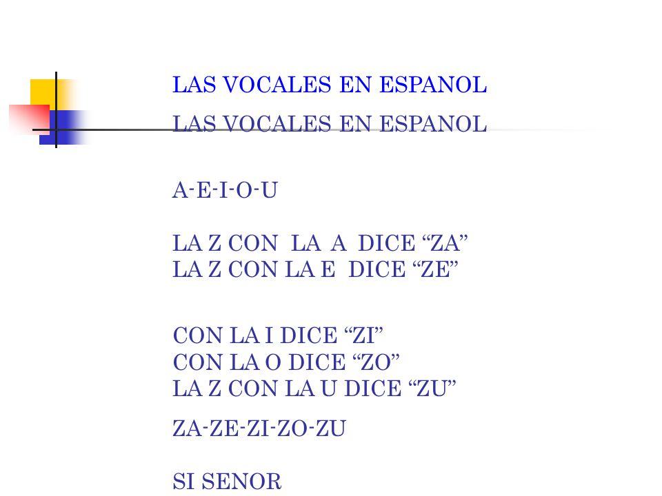 "LAS VOCALES EN ESPANOL A-E-I-O-U LA Y CON LA A DICE ""YA"" LA Y CON LA E DICE ""YE"" CON LA I DICE ""YI"" CON LA O DICE ""YO"" LA Y CON LA U DICE ""YU"" YA-YE-Y"