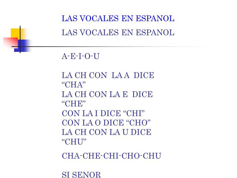 "LAS VOCALES EN ESPANOL A-E-I-O-U LA C CON LA A DICE ""CA"" LA C CON LA E DICE "" CE"" CON LA I DICE ""CI"" CON LA O DICE ""CO"" LA C CON LA U DICE ""CU"" CA-CE-"