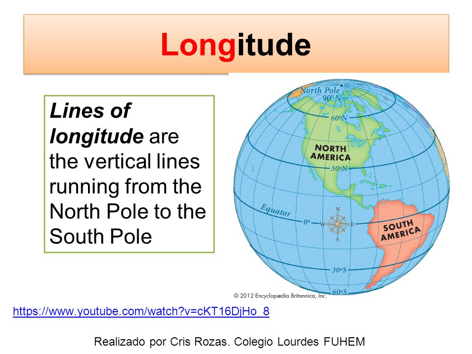 https://www.youtube.com/watch v=cKT16DjHo_8 Lines of longitude are the vertical lines running from the North Pole to the South Pole Realizado por Cris Rozas.