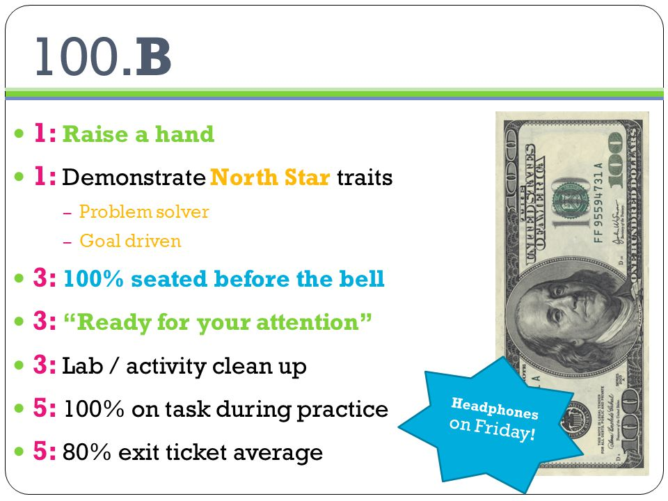 100.B 1: Raise a hand 1: Demonstrate North Star traits – Problem solver – Goal driven 3: 100% seated before the bell 3: Ready for your attention 3: Lab / activity clean up 5: 100% on task during practice 5: 80% exit ticket average Headphones on Friday !
