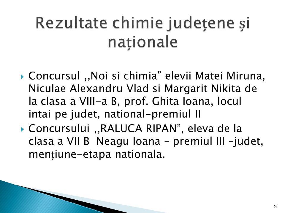 " Concursul,,Noi si chimia"" elevii Matei Miruna, Niculae Alexandru Vlad si Margarit Nikita de la clasa a VIII-a B, prof. Ghita Ioana, locul intai pe j"