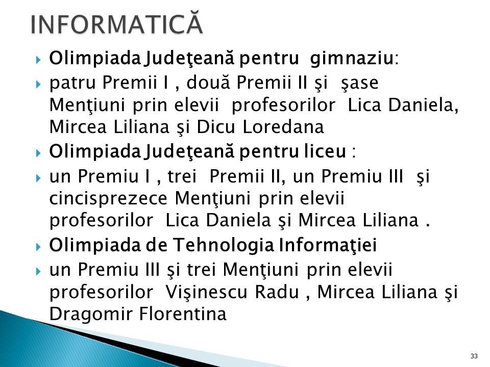  Olimpiada Judeţeană pentru gimnaziu:  patru Premii I, două Premii II şi şase Menţiuni prin elevii profesorilor Lica Daniela, Mircea Liliana şi Dicu