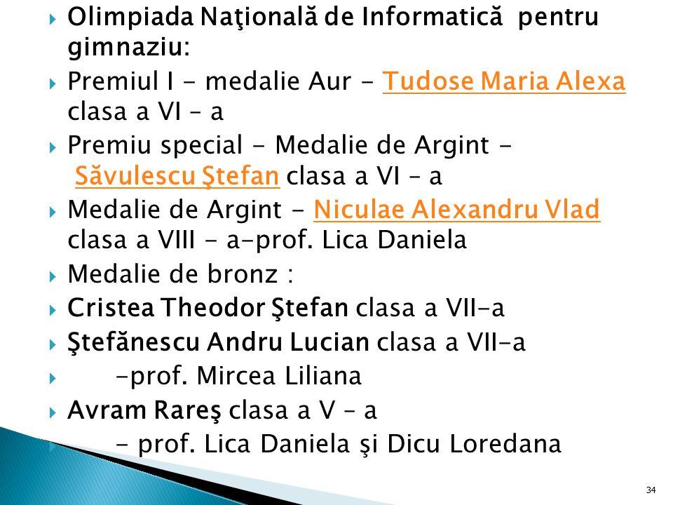  Olimpiada Naţională de Informatică pentru gimnaziu:  Premiul I - medalie Aur - Tudose Maria Alexa clasa a VI – aTudose Maria Alexa  Premiu special