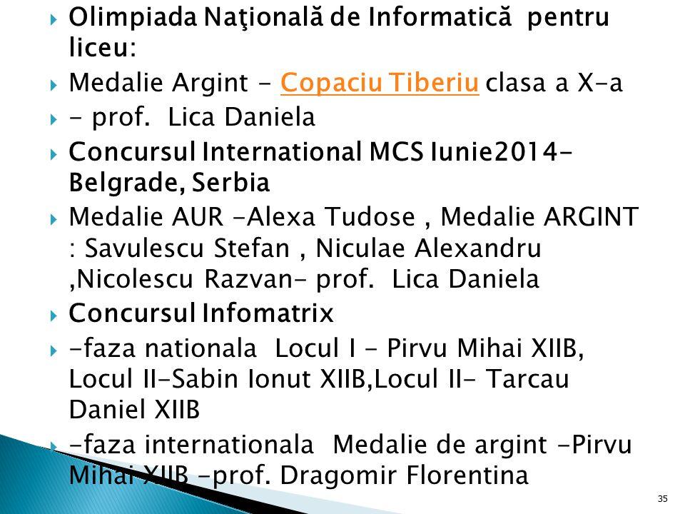  Olimpiada Naţională de Informatică pentru liceu:  Medalie Argint - Copaciu Tiberiu clasa a X-aCopaciu Tiberiu  - prof. Lica Daniela  Concursul In