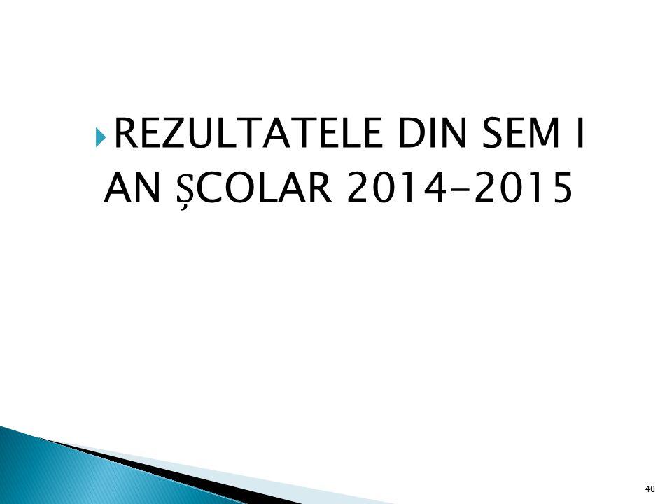  REZULTATELE DIN SEM I AN COLAR 2014-2015 40