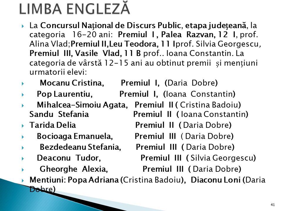  La Concursul Naional de Discurs Public, etapa judeeană, la categoria 16-20 ani: Premiul I, Palea Razvan, 12 I, prof. Alina Vlad;Premiul II,Leu Teodo