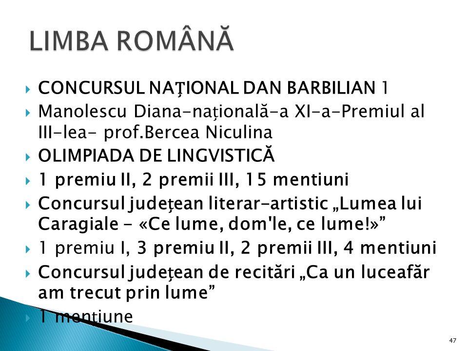  CONCURSUL NAIONAL DAN BARBILIAN 1  Manolescu Diana-naională-a XI-a-Premiul al III-lea- prof.Bercea Niculina  OLIMPIADA DE LINGVISTICĂ  1 premiu I