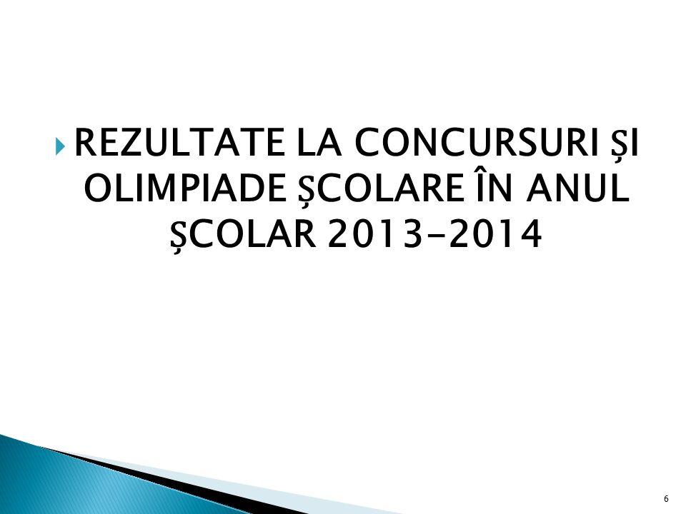  REZULTATE LA CONCURSURI I OLIMPIADE COLARE ÎN ANUL COLAR 2013-2014 6